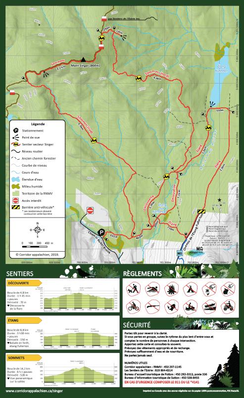 Carte des sentiers du Mont Singer